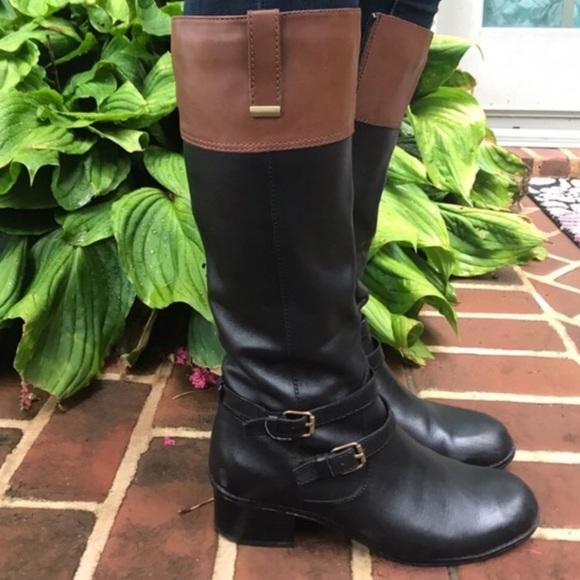959d092cb0e Bandolino Carlotta Brown Black Tall Boots Size 7.5